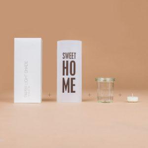 Paper Light Shade mit Schachtel, Weck-Glas und Teelichtkerze
