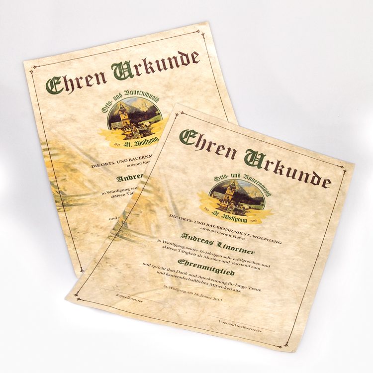 Urkunde für die St. Wolfganger Orts- und Bauernmusik