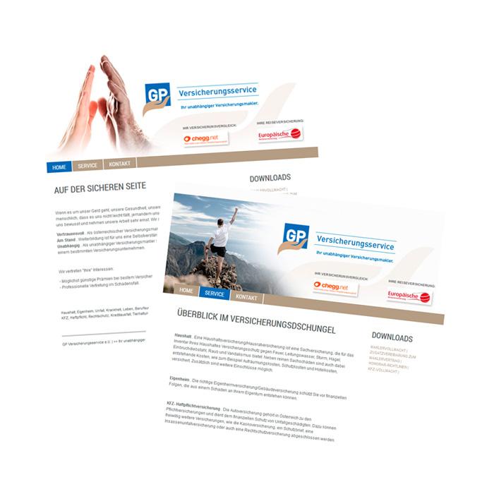 Webauftritt für GP - Versicherungsservice