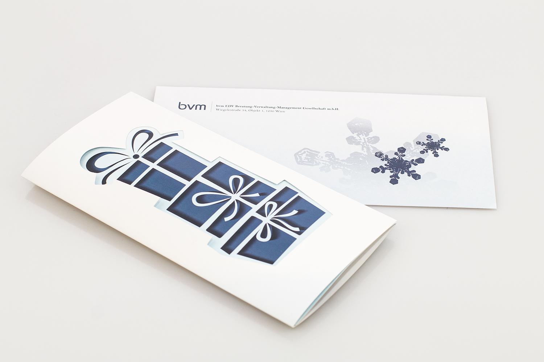 Weihnachtskarte und Kuvert bvm-EDV