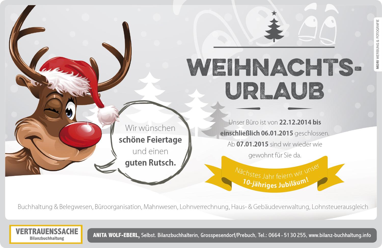 Weihnachtseinschaltung Bilanzbuchhaltung Vertrauenssache Anita Wolf-Eberl