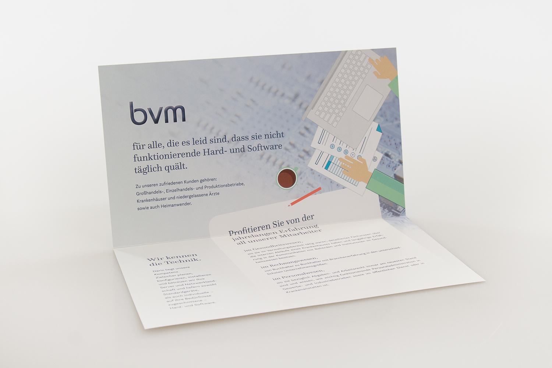 Folder gestaltet für bvm-EDV von MORI - Innenansicht