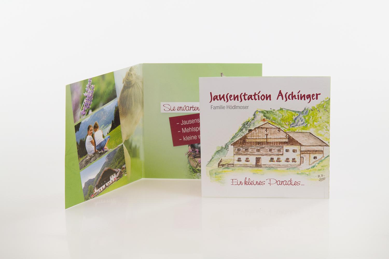 Folder gestaltet von MORI für die Jausenstation Aschinger