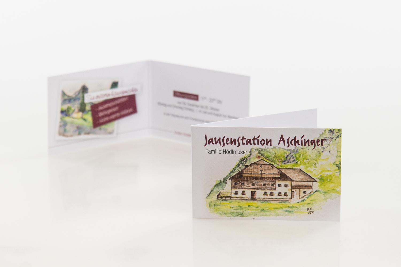 Visitenkarten gestaltet von MORI für die Jausenstation Aschinger