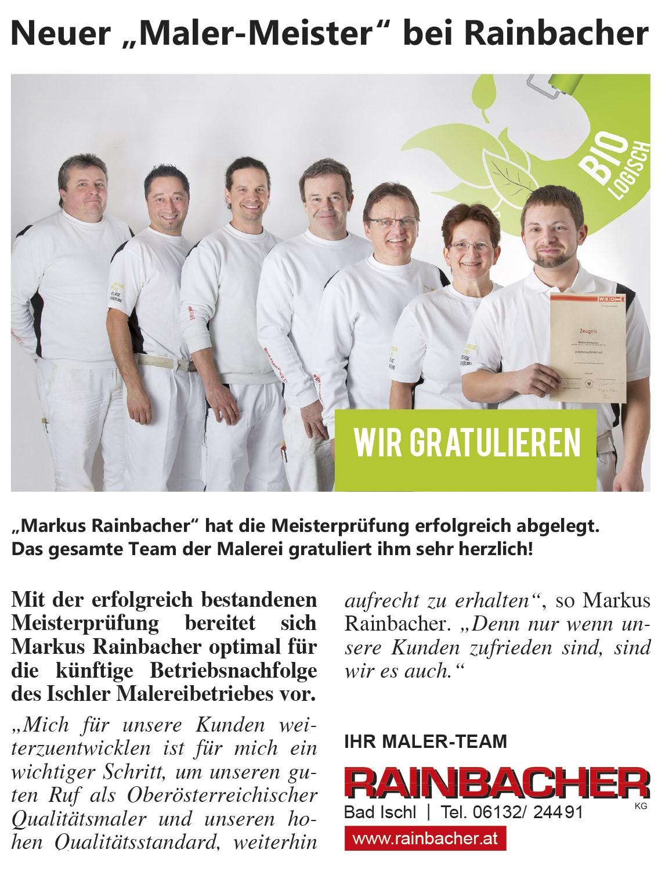 Einschaltung gestaltet für Rainbacher KG - MORI Werbung & Fotografie