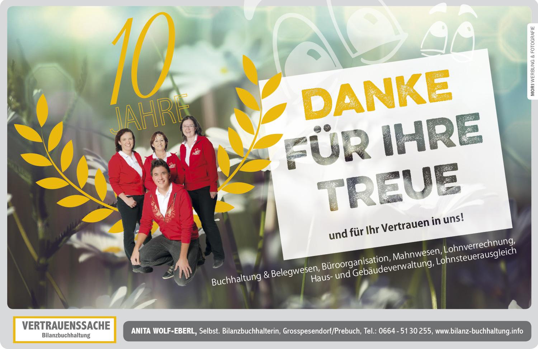 Einschaltungen für Anita Wolf-Eberl- Bilanzbuchhaltung / gestaltet von MORI Werbung & Fotografie