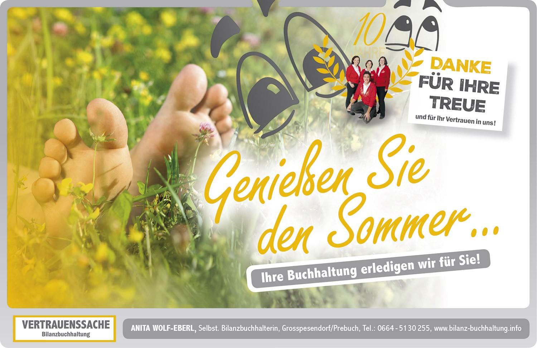 Einschaltung für Anita Wolf-Eberl Bilanzbuchhaltung - designed by MORI Werbung & Fotografie