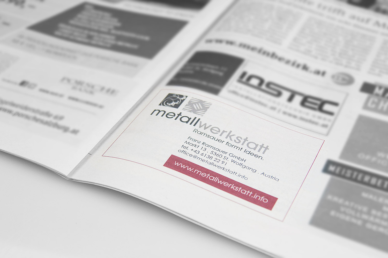Einschaltung - designed von MORI Werbung & Fotografie