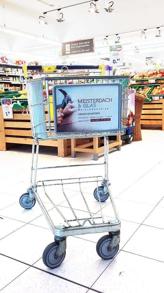 Supermarktwerbung Einkaufswagenwerbung