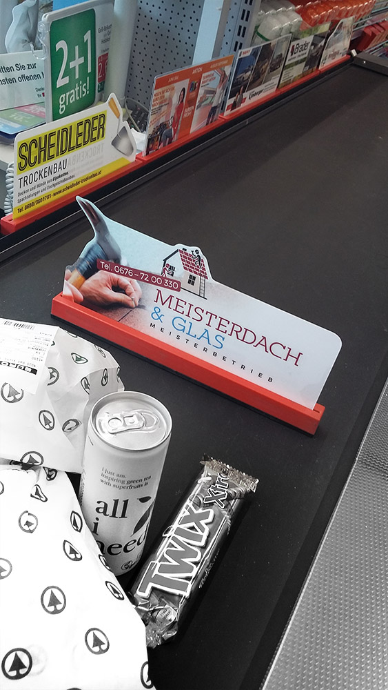 Supermarktwerbung Kassenplakate